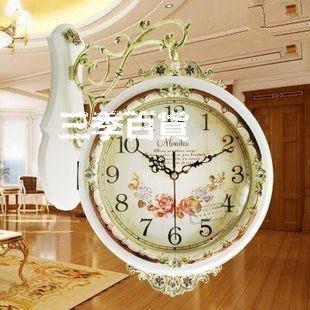 三季歐式雙面掛鐘創意時尚大號客廳時鐘現代靜音田園簡約石英鐘表❖484