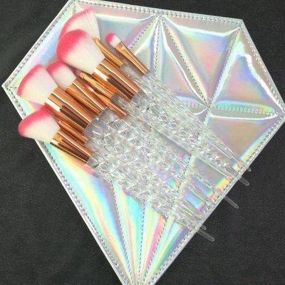 (壹時尚)新款10支化妝刷螺旋水晶鑽石柄化妝刷 螺旋紋獨角獸化妝刷工具