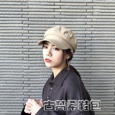 貝雷帽 英倫簡約純色棉麻薄款八角帽男女夏季文藝鴨舌貝雷帽報童帽