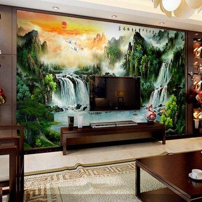 電視背景墻紙壁畫3d立體大型壁紙中式無縫墻布山水畫日出風水 【粉紅豬】