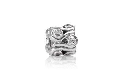 Pandora 絕版 925銀 白色鋯石海浪