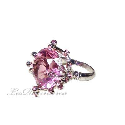 【芮洛蔓 La Romance】 粉鑽水晶造型戒指 / 餐巾環 / 情人節 / 求婚