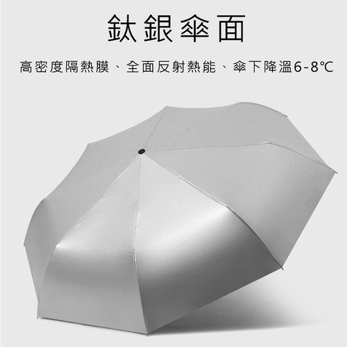 鈦銀膠全自動三折傘 雨傘/遮陽傘/自動傘防曬降溫鈦銀摺疊自動傘,防曬超有感!外層採用鈦銀膠傘布,全面阻隔艷陽