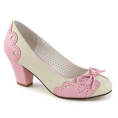 Shoes InStyle《二吋》美國品牌 PIN UP CONTURE 原廠正品心形花邊圓頭包鞋 有大尺碼『粉紅白色』