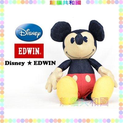※龍貓共和國※日本迪士尼DISNEY《EDWIN限量款Mickey米奇 復古牛仔 娃娃 玩偶 布偶21公分》禮物