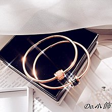 Do.小飾韓國彩色晶石百搭鈦鋼手鐲14K包金手環防過敏不掉色女新款配飾品