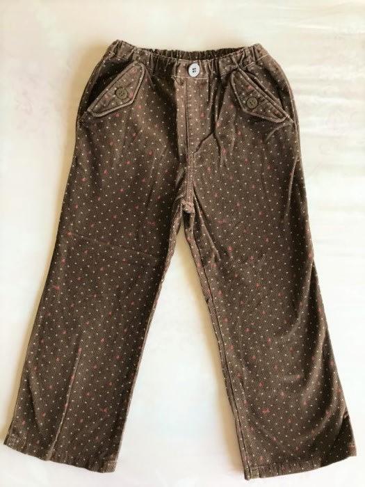 日本製正品 Miki house 水玉點點咖啡色絨褲-110cm-低價起標