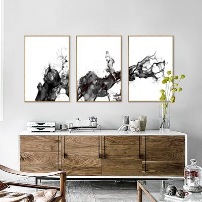 北歐現代簡約抽象潑墨色舞黑白意動裝飾畫(3款可選)