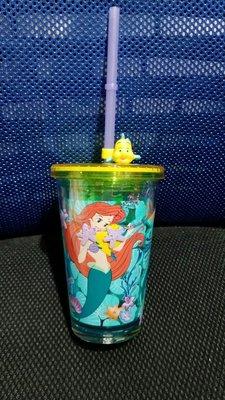 香港迪士尼樂園 The Little Mermaid 小魚仙 美人魚 艾莉奧 小胖 閃粉海星 杯 膠杯 水杯 連飲管 全新正版 (原價$78) Disney