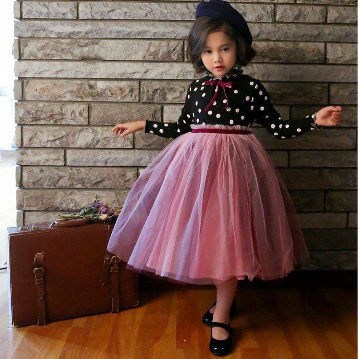 [C.M.平價精品館]150現貨/復古典雅多層紗蓬裙點點假兩件長袖洋裝   小童/中大童
