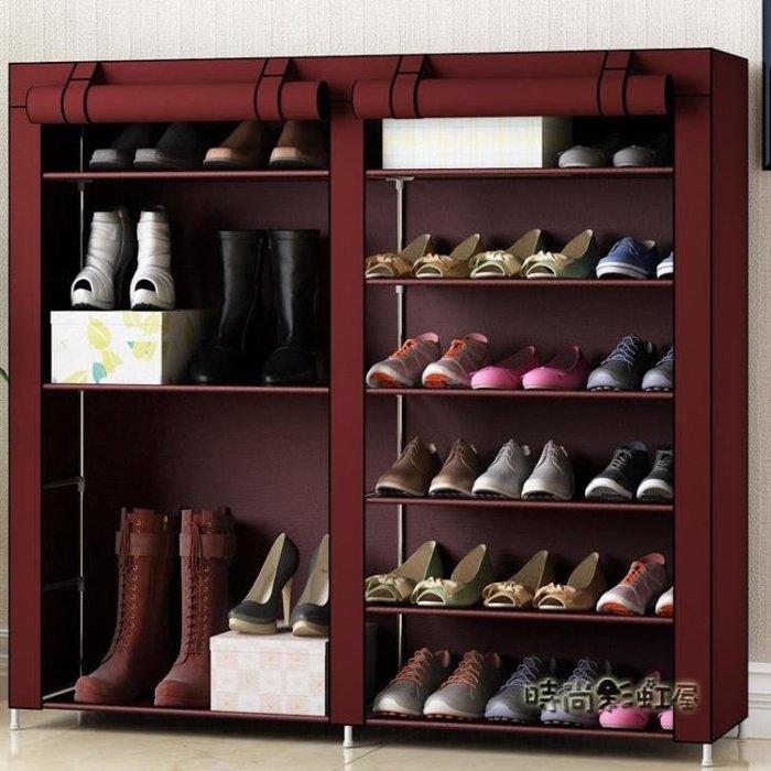 家用多層組裝拉錬防塵鞋架 經濟型多功能省空間布藝簡易鞋櫃lgo 西城集市