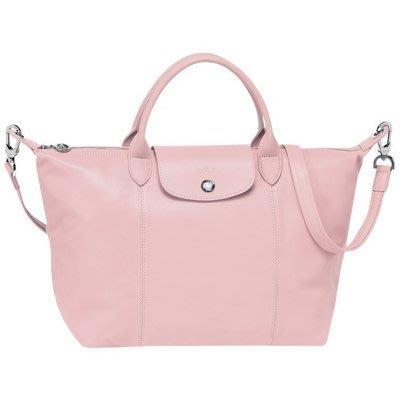 LONGCHAMP Pliage Cuir  淡粉色小羊皮摺疊手提斜背包 (S尺寸)  保證真品