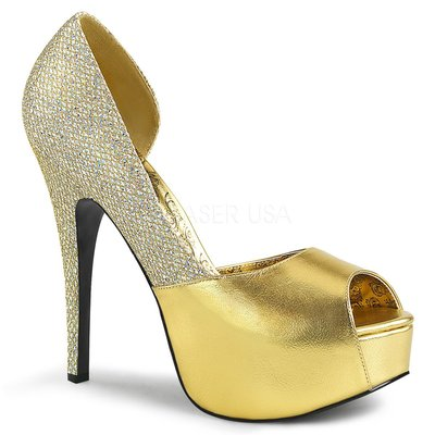 Shoes InStyle《五吋》美國品牌 PINK LABEL 原廠正品金蔥高跟魚口鞋大尺碼 11-16碼『金色』