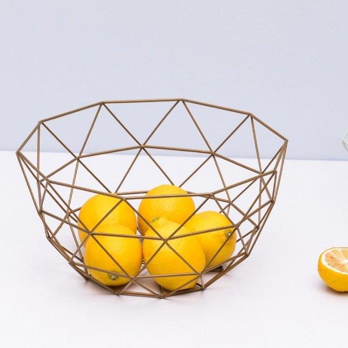 北歐鐵藝水果盤客廳創意家用水果籃零食收納盒桌面干果盤瀝水籃盆Y-優思思