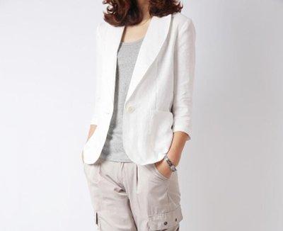 哆啦本鋪 棉麻小西女短款正韓修身七分袖亞麻小西服薄款外套 D655