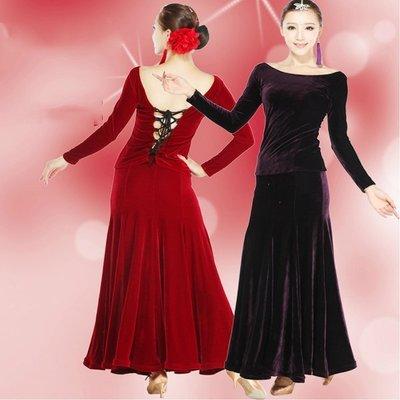 豪華型絲絨摩登舞演出服比賽服國標舞裙連衣裙交誼舞裙 探戈舞服