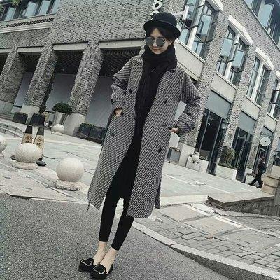 【火熱實拍🔥】韓-🎀千鳥格子 毛呢外套 中長款 過膝 加厚 長版大衣 長版外套 排釦大衣💯爆炸氣質【S-2XL】