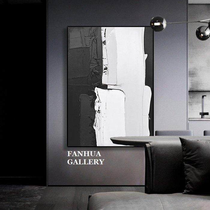 C - R - A - Z - Y - T - O - W - N 純手繪立體筆觸油畫黑白抽象色塊藝術油畫設計師款裝飾畫