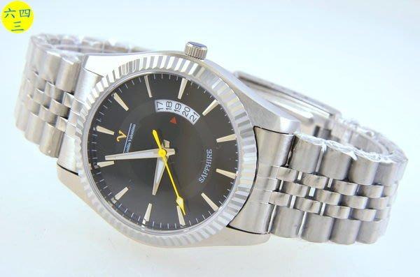 (六四三精品)范侖鐡諾(真品)大錶徑3.9公分.可見五日日期.全不銹鋼精準手錶!