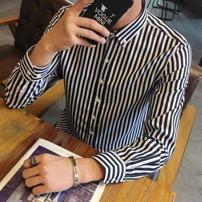 秋季男士長袖條紋襯衫修身寸衣青少年發型師韓版休閑襯衣學生潮男