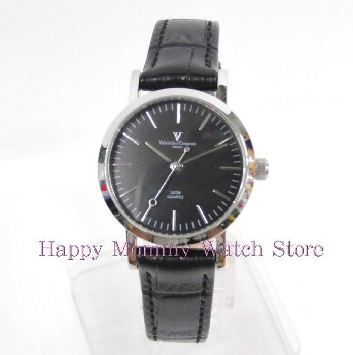 【 幸福媽咪 】valentino coupeau范倫鐵諾 簡約風格皮革錶帶 女錶 黑面 61576SG