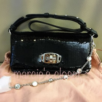 全新真品 Miu Miu Crystal sequinned handbag clutch bag 水晶鍊珠片手袋