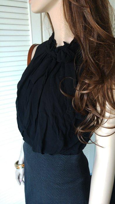 全新 BCBG 黑雪紡蝴蝶結拼接羊毛裙假兩件洋裝