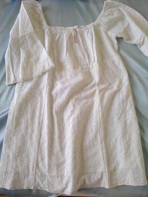 [99go] 日本專櫃 peach john 公主風 高腰 五袖上衣  純棉 鏤空蕾絲  M號