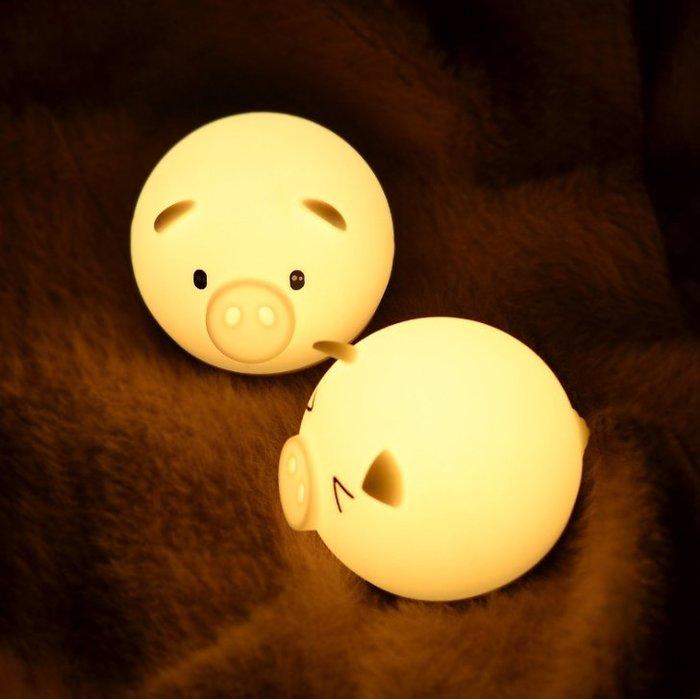 現貨~新款豬年禮物創意產品led小豬小夜燈新奇特七彩拍拍矽膠燈