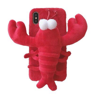 秋冬毛絨紅色龍蝦iPhone xs max手機殼蘋果x毛茸茸7plus軟殼8plus創意個性6s女款7p暖手xr新款ip