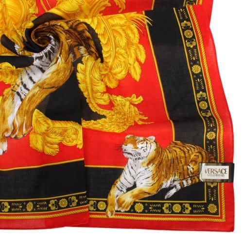 【姊只賣真貨】VERSACE 凡賽斯 古典藝術華麗老虎帕巾(紅色)