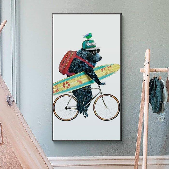 ART。DECO  可愛黑熊掛畫狗狗裝飾畫熊貓老鼠裝飾掛畫創意玄關裝飾畫搞笑卡通動物過道走廊壁畫趣味兒童房掛畫(4款可選