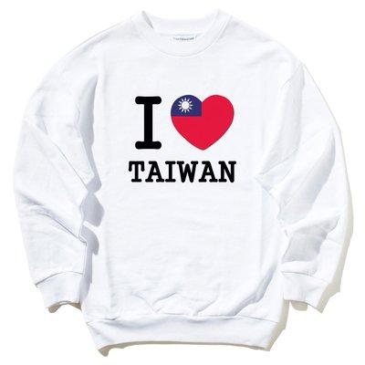 I Love TAIWAN flag【現貨】中性男女大學T 刷毛 白色 我愛台灣國旗潮流設計百搭愛心