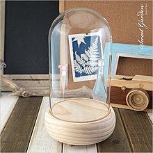 Sweet Garden, 12*高20cm玻璃罩+實木音樂盒底座(可選曲) DIY永生花 陶紙藝設計 公仔模型防塵展示