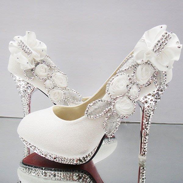 5Cgo【鴿樓】會員有優惠 36644724467 水鑽高跟圓頭結婚新娘鞋金色水晶婚紗鞋紅色中跟婚禮鞋女 婚用單鞋