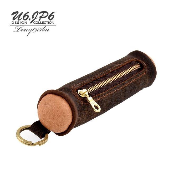 【U6.JP6 手工皮件】-純手工縫製進口牛皮天然手作皮革縫製 .拉鍊式零錢包 /  萬用包