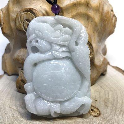 【收藏家】天然翡翠 緬甸玉a貨 龜鶴同春 雕刻款 冰透亮 水頭飽 精緻立體雕工 祝壽好禮