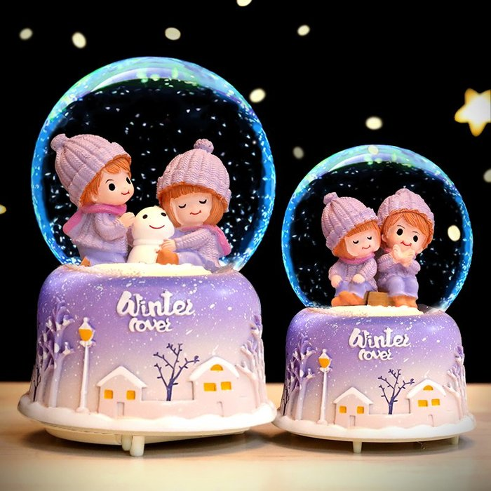 水晶球音樂盒雪花女生八音盒浪漫情侶七夕情人節送女友老婆禮物