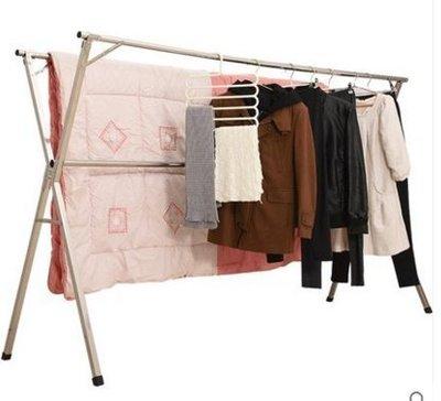 『格倫雅』海劍不銹鋼晾衣架落地折疊雙桿式晾衣桿室內陽臺掛被子涼衣架曬架^21733