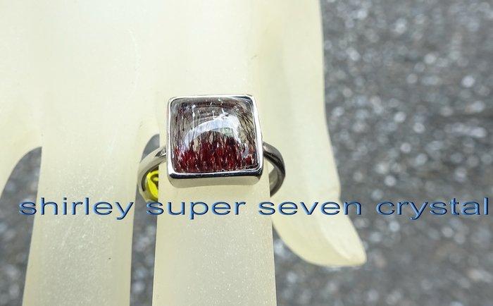 ~shirley super seven 水晶能量戒指~髮絲內含~幾何放射~能量巨大~練氣聚氣~精緻典藏!