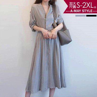 加大碼洋裝-歐風復古氣質收腰連身裙(S-2XL)【XBW85648】*AMAY(現+預)