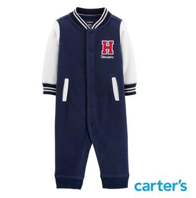 美國卡特 Carter's 男童裝 長袖連身衣 羊毛連身衣 連身褲 帥氣夾克連身衣 秋冬款 大學校隊風 新品現貨