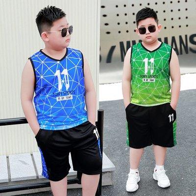 hello小店-胖童夏季薄款背心速干套裝男童加肥加大無袖短褲大碼兩件套夏天潮#兒童上衣#襯衫#短袖t恤#