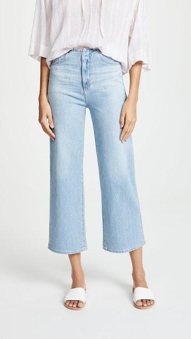 ◎美國代買◎AG The Etta Waistless 無褲腰頭設計寛版剪裁復古淺藍色高腰寛管七分牛仔褲