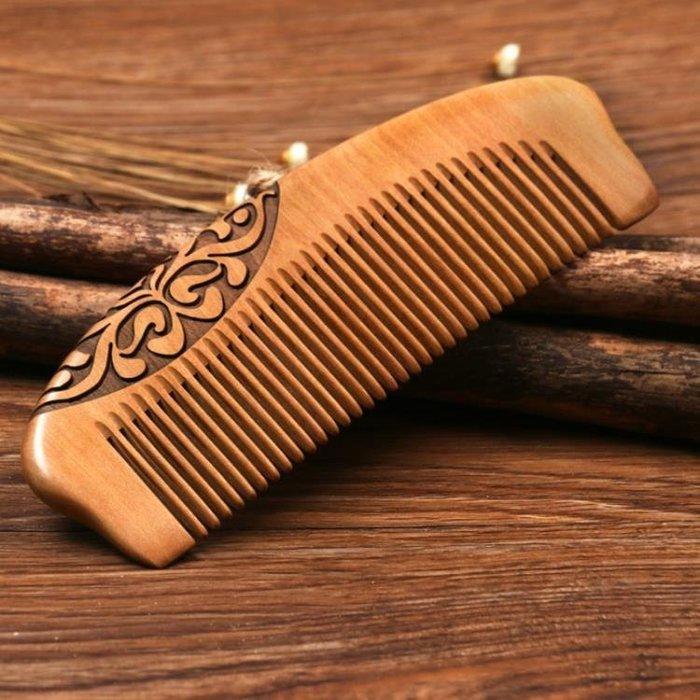 天然桃木梳子整木實木雕花節日禮物有檀木梳頭梳防靜電脫發按摩梳(禮物) 【粉紅豬】
