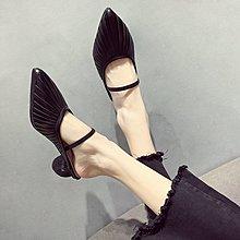 小尤家~涼鞋女新款韓版百搭尖頭包頭鏤空高跟鞋時尚一鞋兩穿涼拖鞋潮