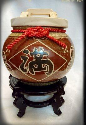 【Aileen藝品小舖】鶯歌陶瓷米甕 米缸 米桶 媽媽廚房的聚寶盆(10斤裝)*1+底座