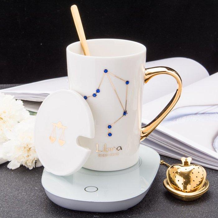 奇奇店-創意55度恒溫陶瓷水杯女生鑲鉆情侶馬克杯辦公室過濾茶杯情人節#簡約 #輕奢 #格調