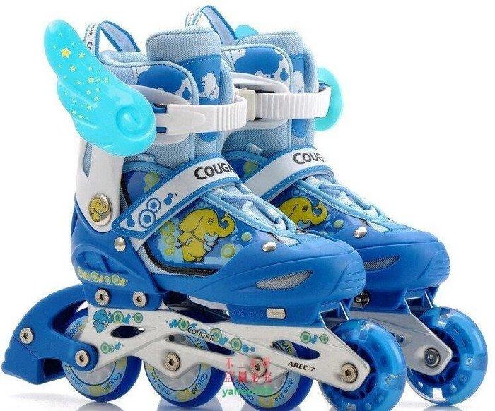 美學76美洲獅溜冰鞋兒童全套裝可調閃光直排輪滑鞋旱冰鞋滑冰鞋男女保證 四❖9611