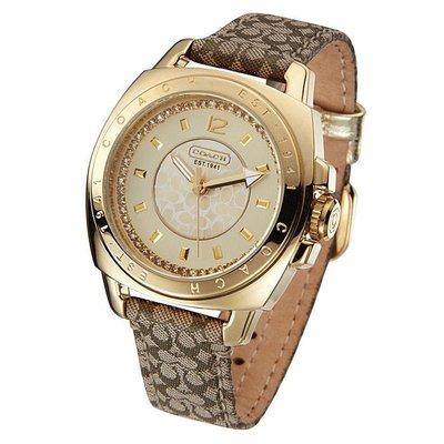 【Woodbury Outlet Coach 旗艦館】COACH 14501287 金色大錶盤 復古錶帶石英女錶  美國代購100%正品